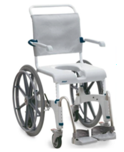 Height Adjustable Self-Propelled Shower Commode Chair with leg rests